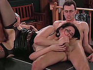 Awesome threesome scene with participation of two scientists and secretary Sarah Shevon from 'Ghostbusters' porn parody 8