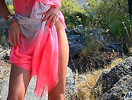 Small-waisted lass who is masturbating looks as gorgeous as nature on the background 4