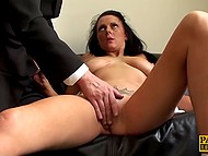 Obedient whore on the orders of master takes clothes off and shoves dildo inside of her pussy 10