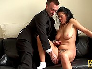 Obedient whore on the orders of master takes clothes off and shoves dildo inside of her pussy 7