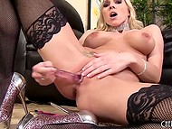 Glamour woman with huge boobs chooses dildo that matches the color of her pink sissy 11