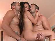 Petite Asian lady gets little holes screwed hard by two merciless Latin homies 10
