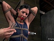 Tied girl gets extreme pleasure because of man that uses clothespins and pump 6