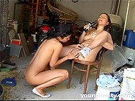 Sweet lesbians want to have a great time in a garage so they start to lick each other`s vagina and use a black dildo 4