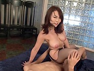 Asian girl in dress gets her pussy stimulated with toys and gangabanged by a group of guys 8
