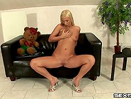 Blonde girl lulled her plush bear and went to satisfying herself with favorite dildo afterward 4