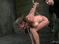 Развратник связал дамочку так, чтобы её попка торчала кверху и довёл её вибратором до дрожи 11