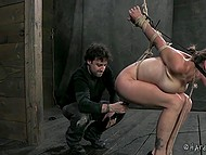 Perverted man tied obedient woman to lift her butt up and make tremble with vibrator 9