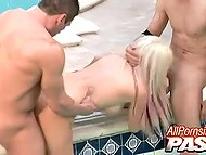 Pumped buddy and young skinhead fuck big-tittied blonde from both ends by bubbling pool 7