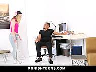 Дерзкая сучка нахально вела себя с пацаном и он не выдержав жёстко наказал её 4