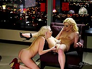 Excited blonde lesbians didn't care about down town lights while they were busy with oral sex 7