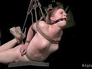 Очкастый мужик связал прелестную куколку, а к её нежным сосочкам подвесил груз 9