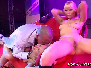Two blondes and fucker were rewarded with a storm of applause for hot performance