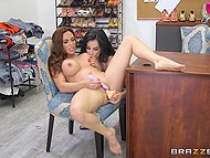 Buxom designer forced brunette employee to lick her cunny to stimulate her creative skills 11
