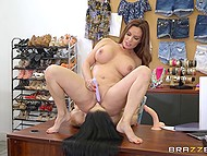 Buxom designer forced brunette employee to lick her cunny to stimulate her creative skills 7