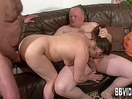 In spite of being mature, German with pierced goodies pleasures two men better than any young girl 9