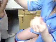 Light-haired nurse from Croatia copulates with colleague on camera at night watch 8