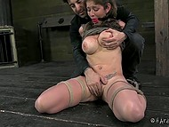 Big-boobied woman found herself tied up and absolutely helpless in the face of aggressive man 4