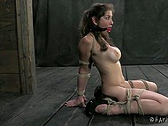 Big-boobied woman found herself tied up and absolutely helpless in the face of aggressive man 6