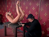 Bald looker is experiencing amorous torments at the rude hands of twisted male with climax in the end 7