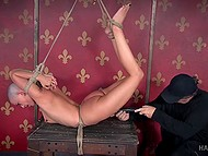 Bald looker is experiencing amorous torments at the rude hands of twisted male with climax in the end 8