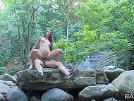 Girl went outdoors with her boyfriend for one reason alone to have a lot of sex in the heart of nature 7