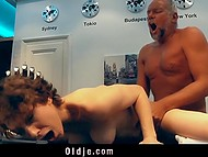 Young babe couldn't stop teasing old man that's he took advantage of hairy pussy in the kitchen 10