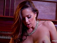 Luxurious pornstar Abigail Mac took off fashioned lingerie and polished the pearl 4
