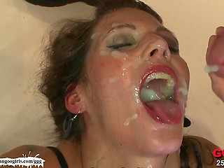 Skilled babe gave blowjob before a lot of sperm covered her face and filled mouth