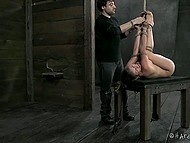 Man had bound chesty dame tighter and made sure her vagina gonna flow in the basement 4