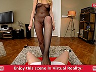 Pretty blonde in bodystocking is giving cameraman a head in the POV video 5