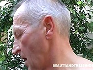 Teen girl in garden wants to apologize to an old man so they fuck right there and her mouth gets filled with cum 11