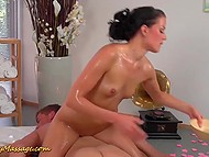 Brunette massage girl is fucked by her client on special table and in the pool 6