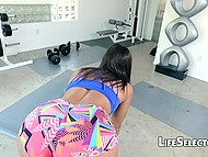 In POV video guy fucks amazing girlfriend at the gym, by the poolside and other places 6