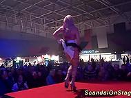 Развратная шлюха извращается на сцене со зрителем в рамках своего порно шоу 4