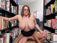 Vicious girl has a very boring job at library so boyfriend came to entertain her awhile 5