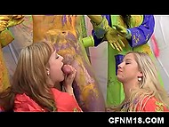 Ladies have fun at studio and after a lucky dude covered with paint appears to feed their hungry pussies 4