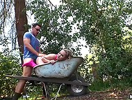 Swanky took bimbo to forest to let her go down on and fuck right in a dirty wheelbarrow 11