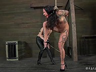 Girl gets very excited, when she is poking and whipping her masochistic girlfriend with a twig 8