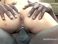 Muscled black dude slowly thrust penis into tattooed colleen in high heels 8
