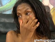 Men used slender Marie Chantilly's deep throat and awarded her with sperm mask 11