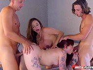Buxom dame together with young stepdaughter asked men to take part in unforgettable group sex 5