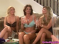 Mature lady organized a little champagne party that turned into lesbian fun with diverse sex toys 4