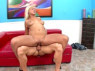 Pornstar Bridgete B exposes her perfectly-looking body and shows professional skills of red couch 4