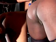 Athletic dude had a good time in a company of two black coquettes in fashioned lingerie 9