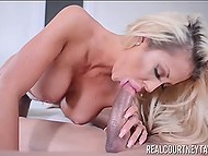 Gorgeous MILF in beautiful lingerie gets licked by cavalier and after that she starts to blow his penis 11