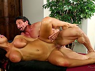 Brunette dame is fucked well by that hard cock and gets her breasts cum-covered 4