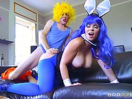 Fascinating girl with bunny ears and in blue pantyhose has awesome sex with young lad 4