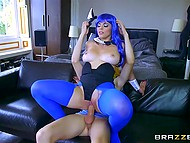 Fascinating girl with bunny ears and in blue pantyhose has awesome sex with young lad 9