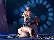 Girl with her slave on scene make show for spectators: he gets punished and drinks her urine 9
